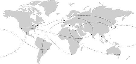 A map of the world with lines connecting major cities